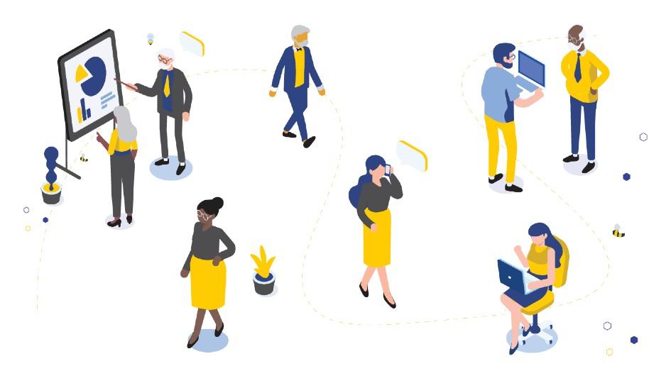 Vector image of various people talking, walking