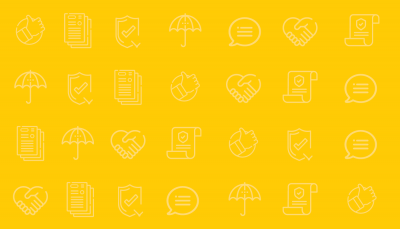 Yellow background with insurance icons in a row | Group Insurance | Benefits by Design