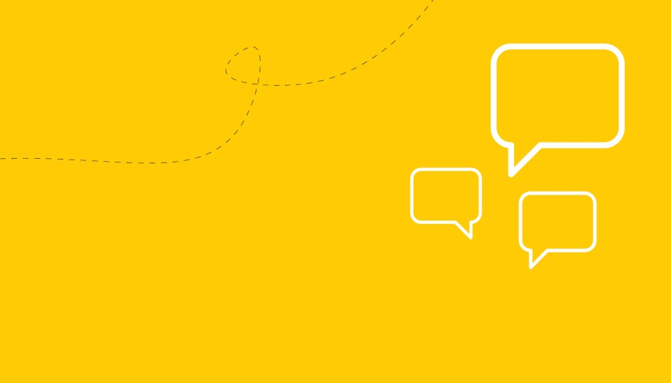 Yellow background with speech bubbles