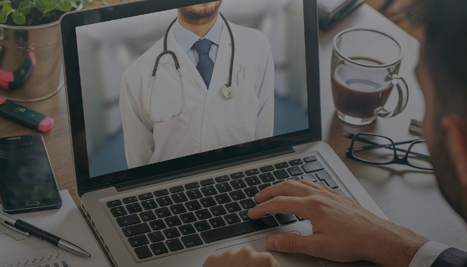Doctor on a computer screen