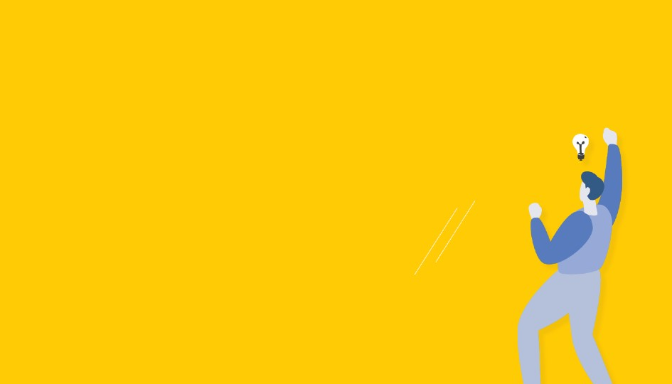 Vector image of a man cheering on a yellow background