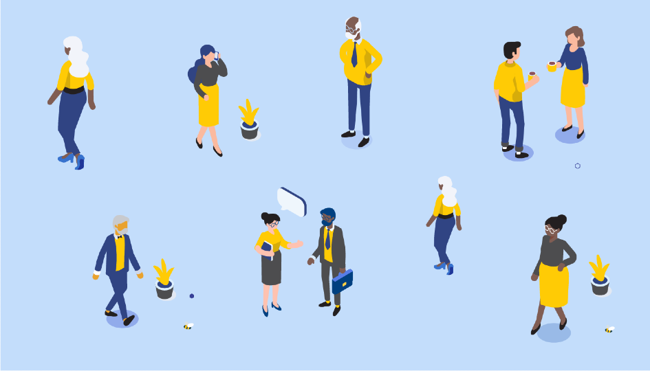 Vector image of various people chatting and walking