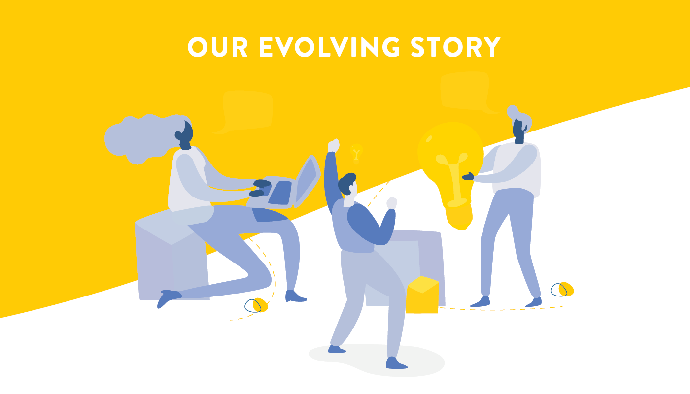 Our Evolving Story   Vector image of people cheering