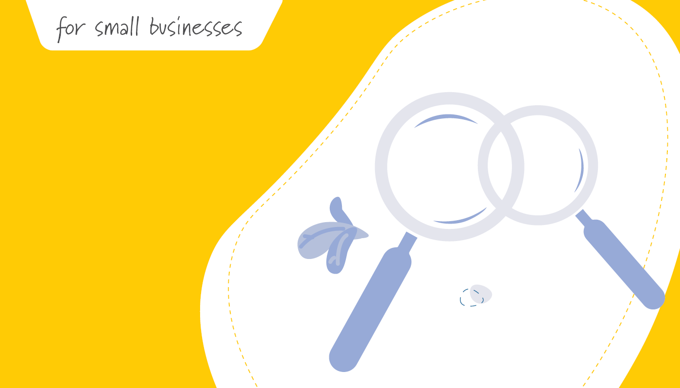 Two magnifying glasses on yellow background   Small Business Benefits   Benefits by Design
