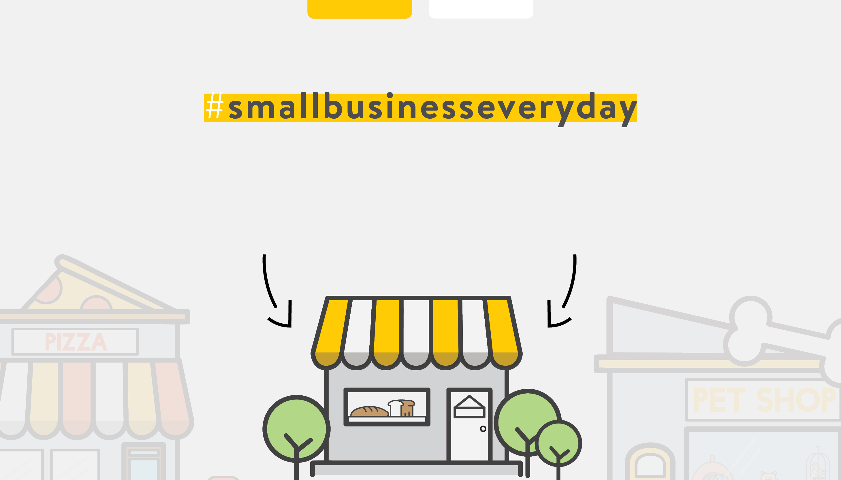Vector of a storefront, #smallbusinesseveryday | Support Small Business | Benefits by Design