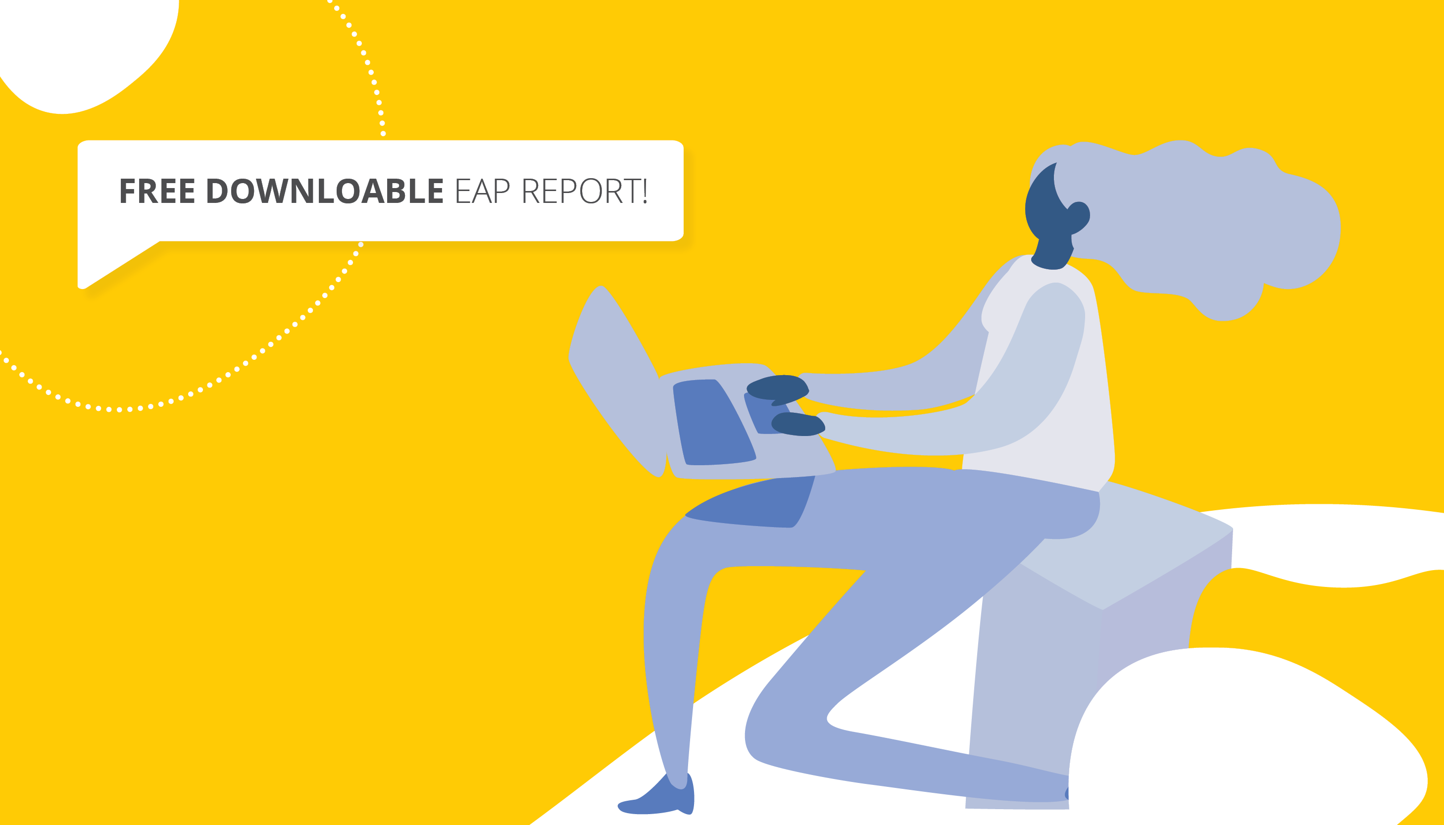 Vector image of a woman on a laptop | Downloadable EAP Report | Benefits by Design