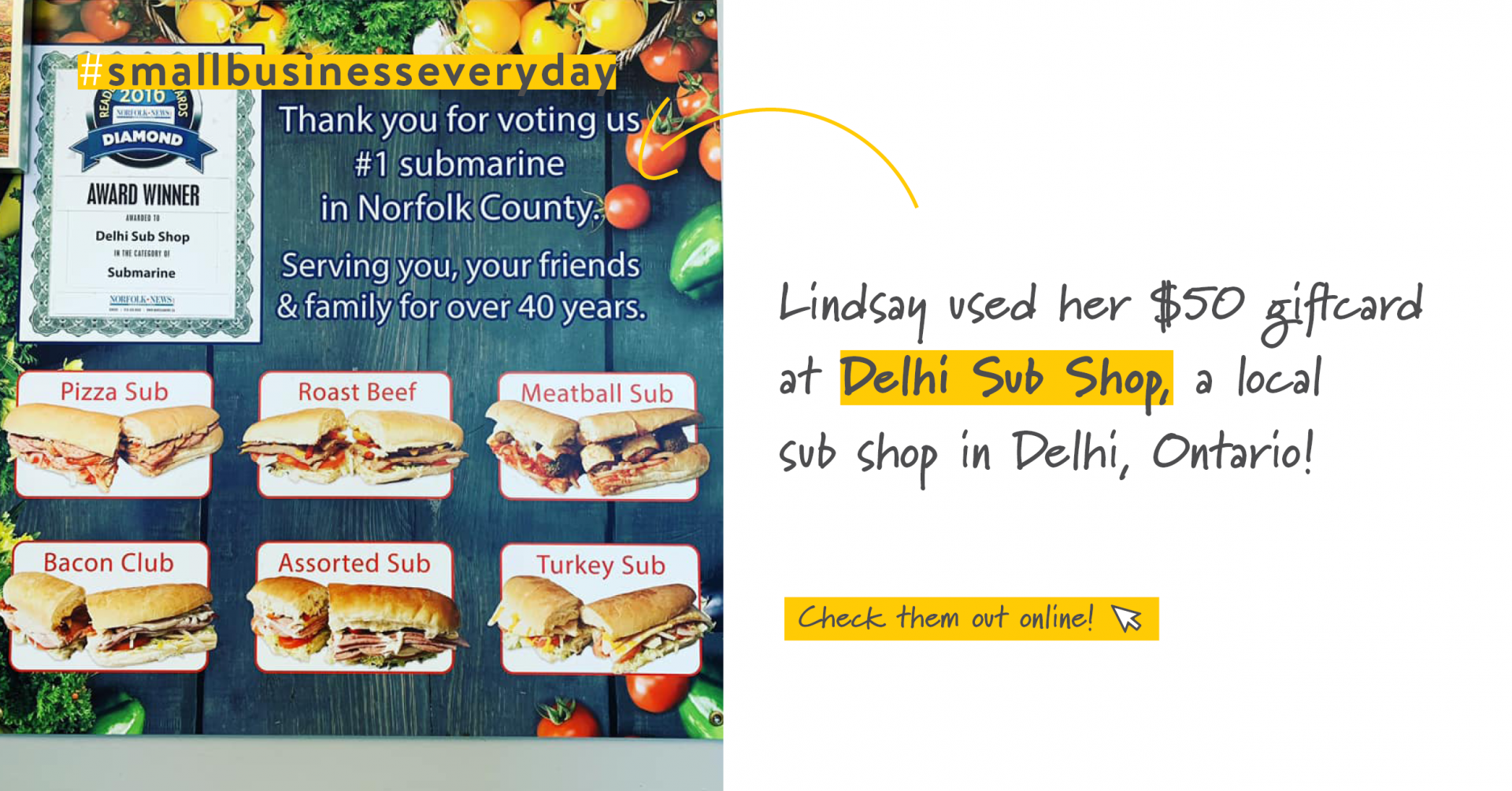 Sandwich menu | Support Small Businesses | Benefits by Design