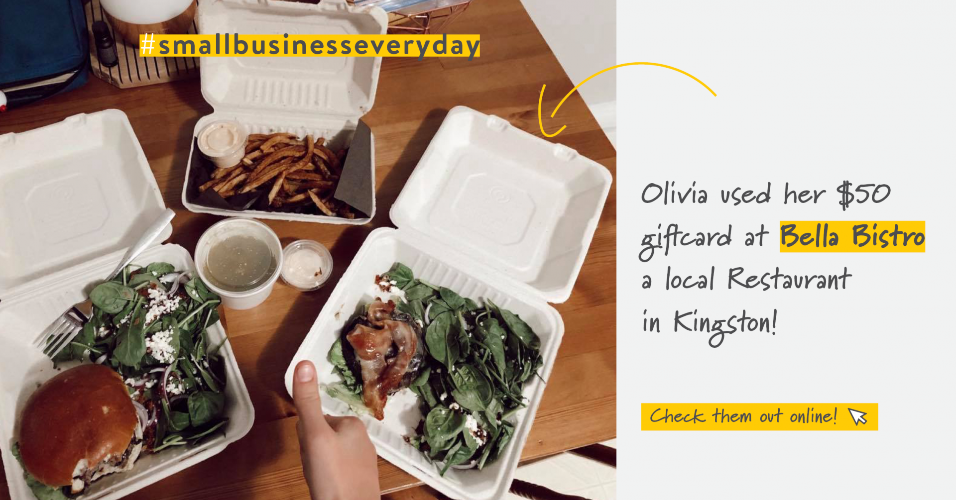 Take out food on a tabletop | Support Small Business | Benefits by Design