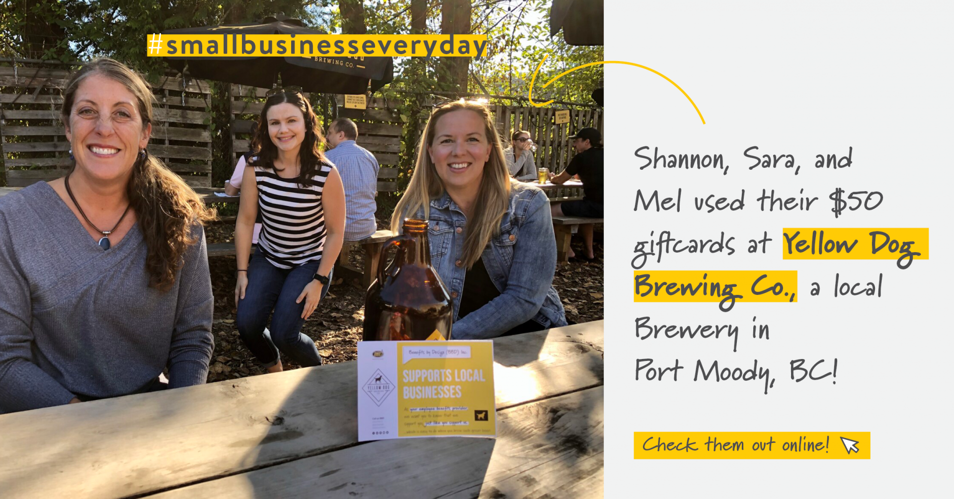3 BBD employees at an outside patio smiling | Support Small Business | Benefits by Design