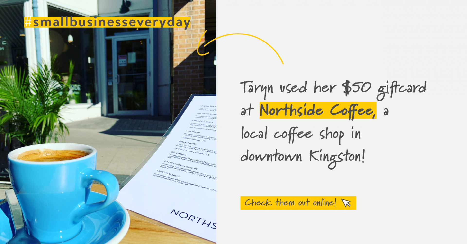 Blue coffee cup on a table with a restaurant menu | Support Small Businesses | Benefits by Design