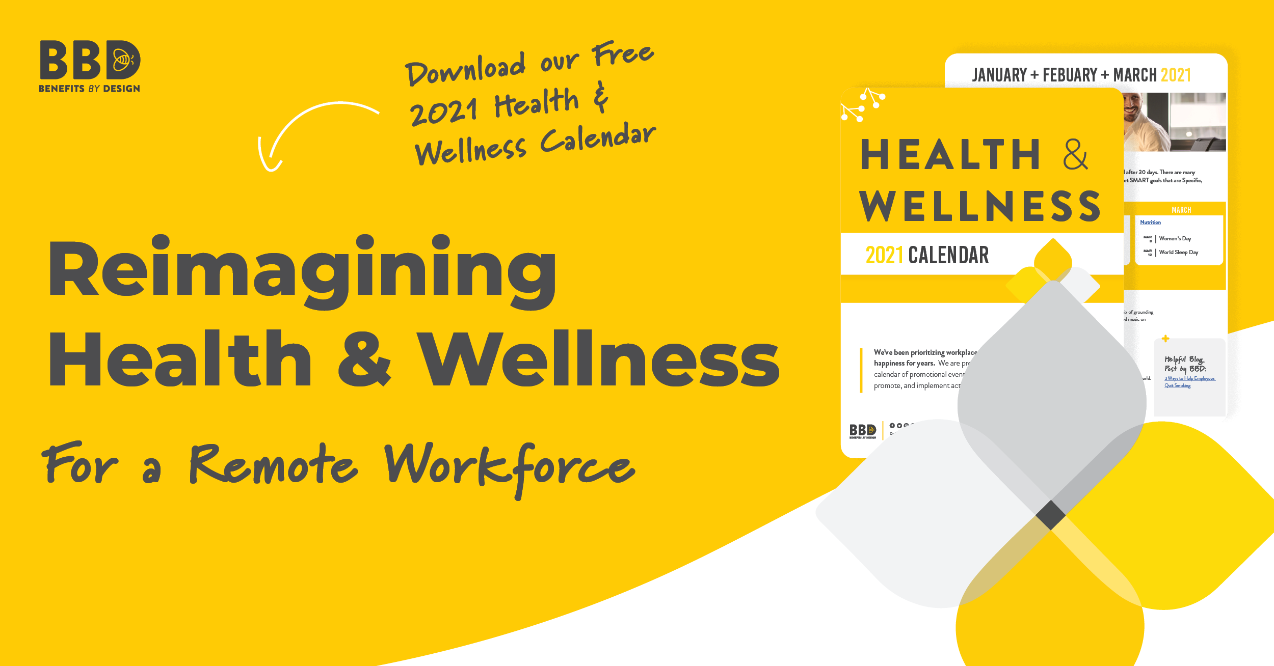 Reimagining Health & Wellness for a Remote Workforce | Images of Health and Wellness Calendar | Benefits by Design